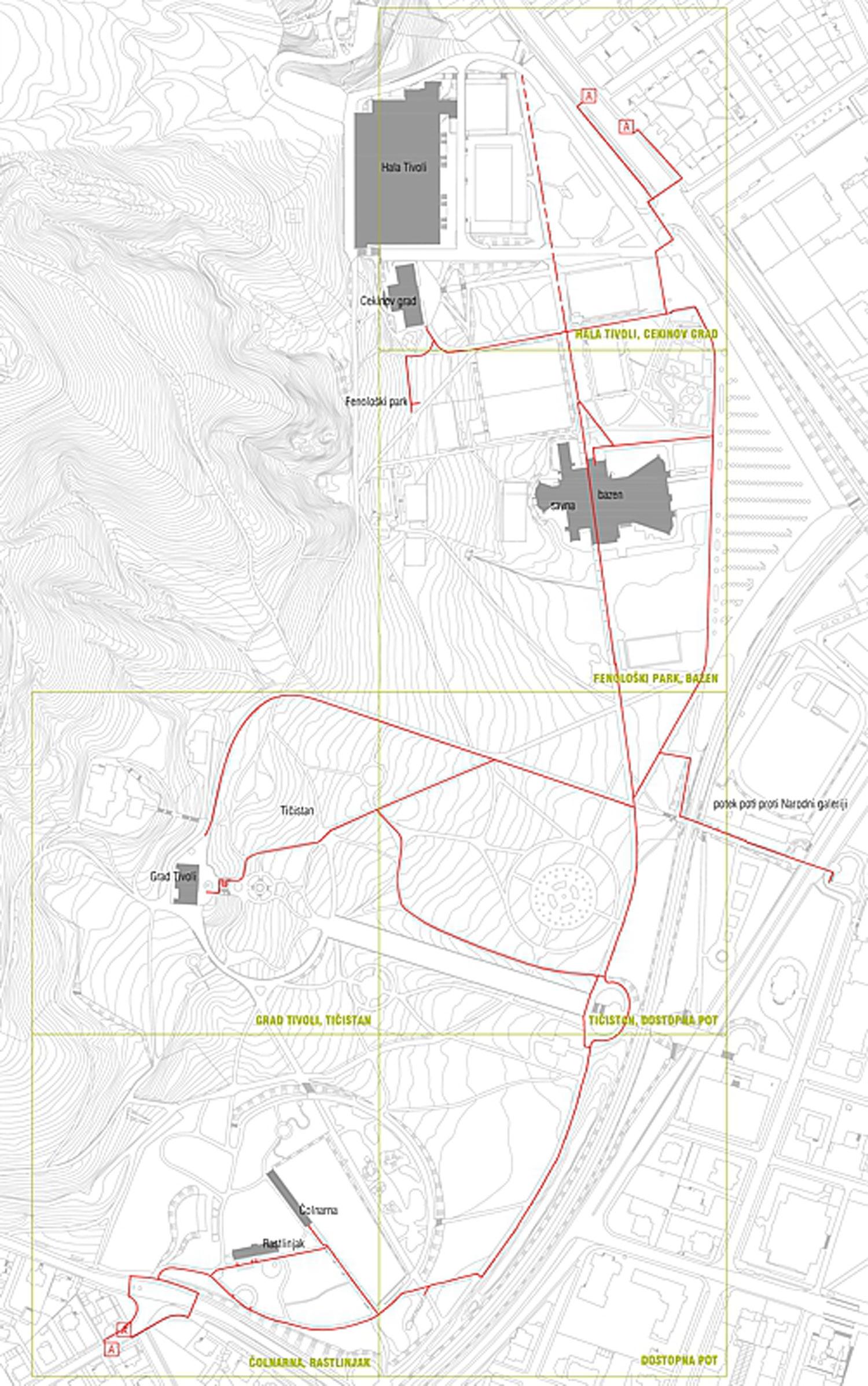 Načrt dostopnosti v Tivoliju v Ljubljani
