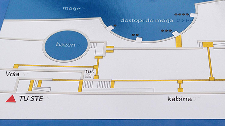 Tipni zemljevid plaža za slepe v Izoli